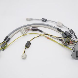 Customized cable tree with Harting connector, ferrite cores, heatshrinks and wires